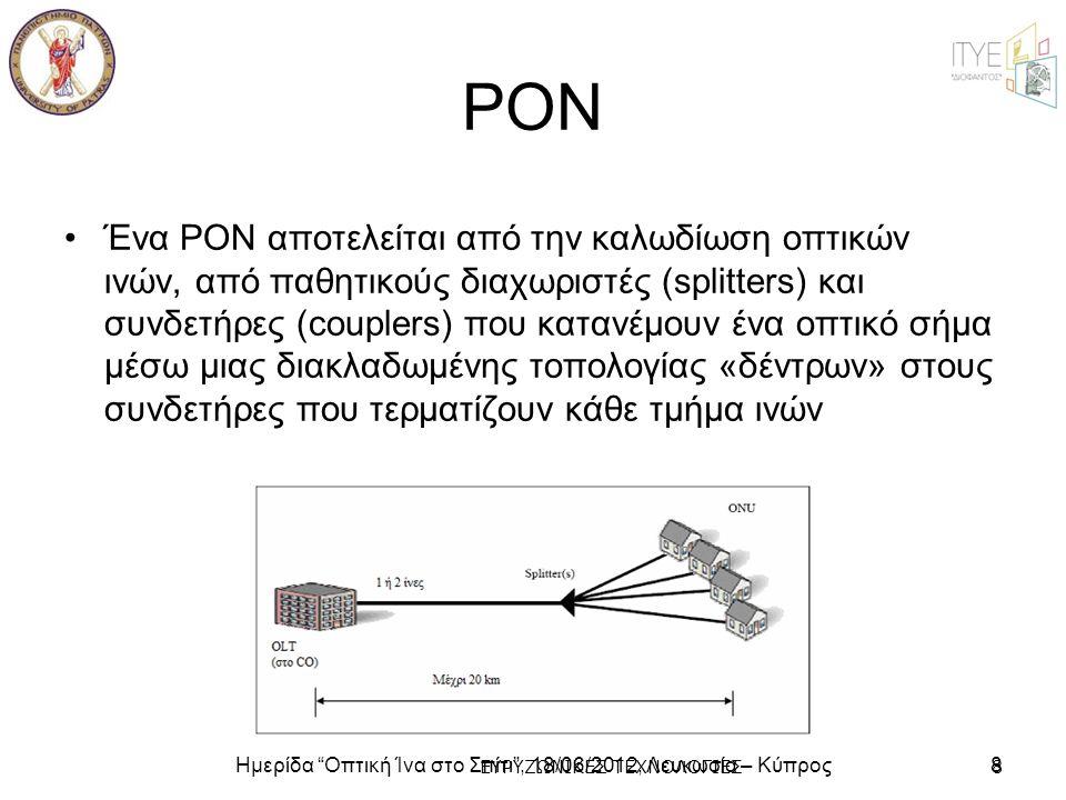 """Ημερίδα """"Οπτική Ίνα στο Σπίτι"""", 18/06/2012, Λευκωσία – Κύπρος8 ΕΥΡΥΖΩΝΙΚΕΣ ΤΕΧΝΟΛΟΓΙΕΣ8 PON •Ένα PON αποτελείται από την καλωδίωση οπτικών ινών, από π"""