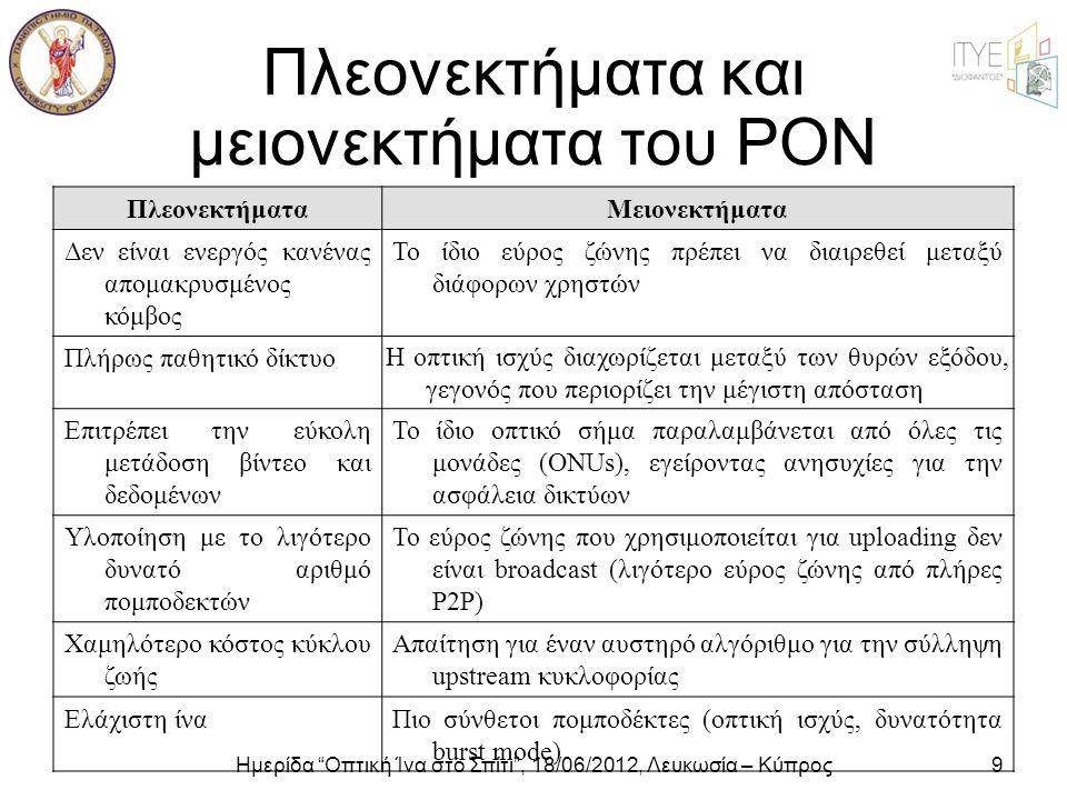 """Ημερίδα """"Οπτική Ίνα στο Σπίτι"""", 18/06/2012, Λευκωσία – Κύπρος9 Πλεονεκτήματα και μειονεκτήματα του ΡΟΝ ΠλεονεκτήματαΜειονεκτήματα Δεν είναι ενεργός κα"""