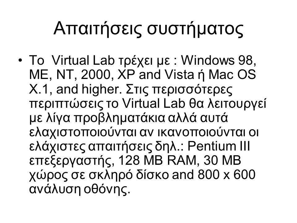 Απαιτήσεις συστήματος •Το Virtual Lab τρέχει με : Windows 98, ME, NT, 2000, XP and Vista ή Mac OS X.1, and higher.