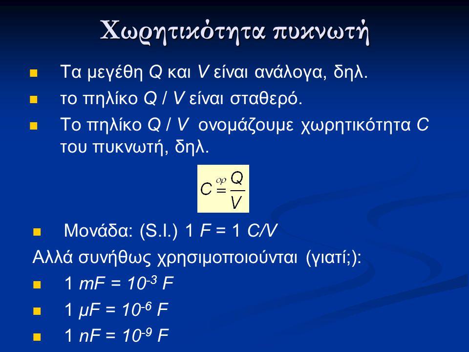 Χωρητικότητα πυκνωτή  Tα μεγέθη Q και V είναι ανάλογα, δηλ.  το πηλίκο Q / V είναι σταθερό.  Το πηλίκο Q / V ονομάζουμε χωρητικότητα C του πυκνωτή,