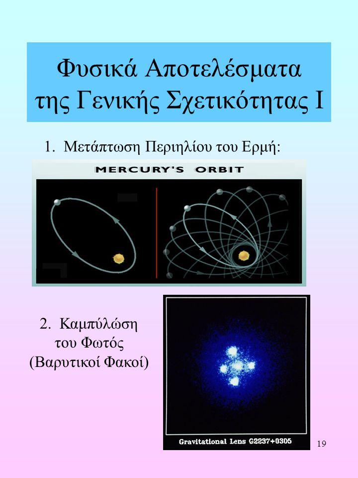 19 Φυσικά Αποτελέσματα της Γενικής Σχετικότητας Ι 1. Μετάπτωση Περιηλίου του Ερμή: 2. Καμπύλώση του Φωτός (Βαρυτικοί Φακοί)