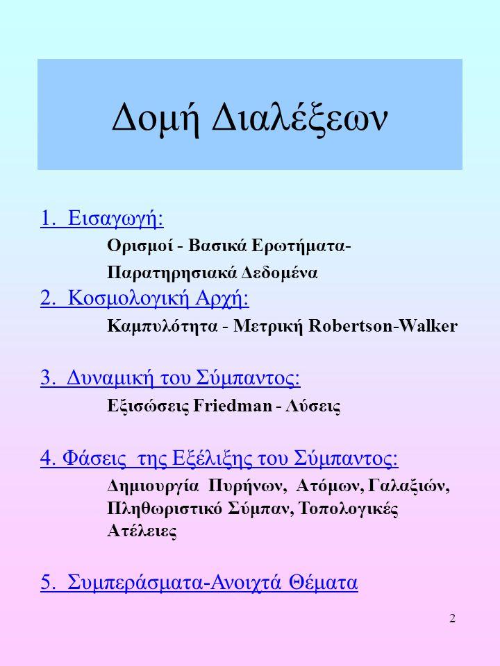 2 Δομή Διαλέξεων 1. Εισαγωγή: Ορισμοί - Βασικά Ερωτήματα- Παρατηρησιακά Δεδομένα 2. Κοσμολογική Αρχή: Καμπυλότητα - Μετρική Robertson-Walker 3. Δυναμι