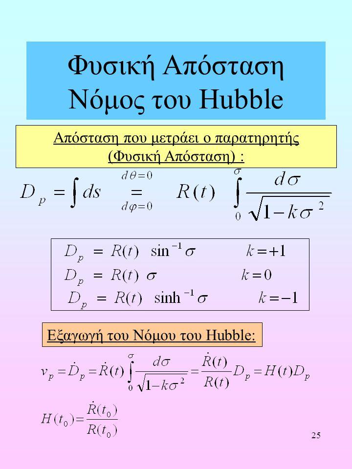25 Φυσική Απόσταση Νόμος του Hubble Απόσταση που μετράει ο παρατηρητής (Φυσική Απόσταση) : Εξαγωγή του Νόμου του Hubble: