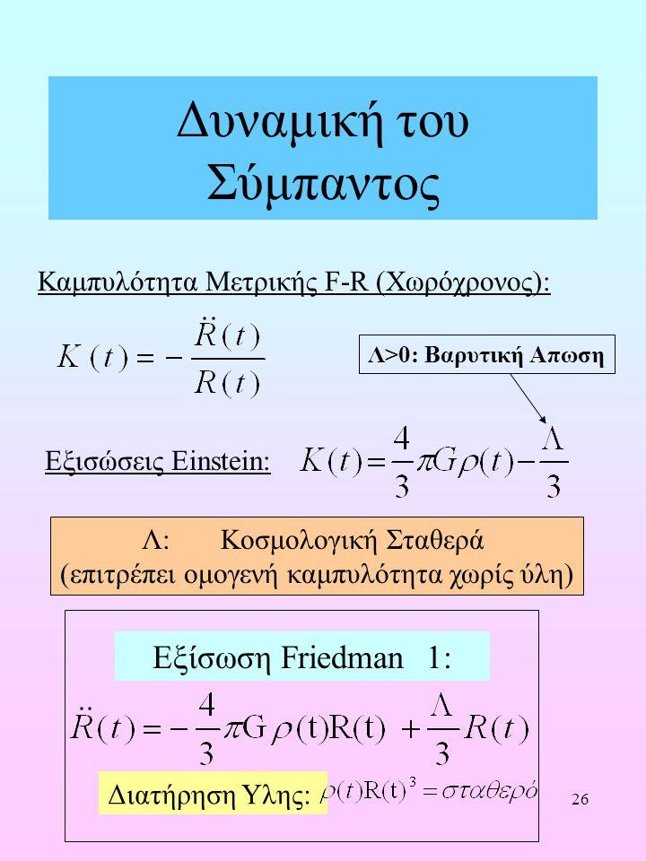 26 Δυναμική του Σύμπαντος Εξισώσεις Einstein: Καμπυλότητα Μετρικής F-R (Χωρόχρονος): Λ: Κοσμολογική Σταθερά (επιτρέπει ομογενή καμπυλότητα χωρίς ύλη)