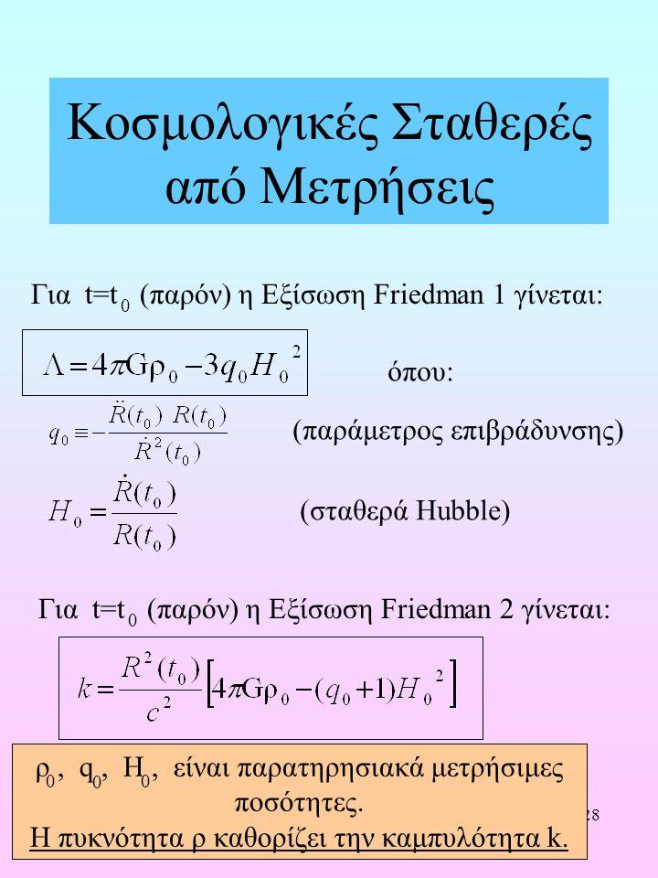 28 Κοσμολογικές Σταθερές από Μετρήσεις Για t=t (παρόν) η Εξίσωση Friedman 1 γίνεται: 0 (παράμετρος επιβράδυνσης) (σταθερά Hubble) όπου: Για t=t (παρόν