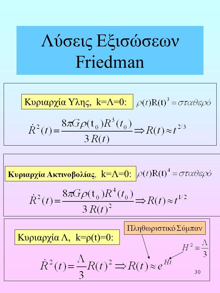 30 Λύσεις Εξισώσεων Friedman Κυριαρχία Υλης, k=Λ=0: Κυριαρχία Ακτινοβολίας, k=Λ=0: Κυριαρχία Λ, k=ρ(t)=0: Πληθωριστικό Σύμπαν