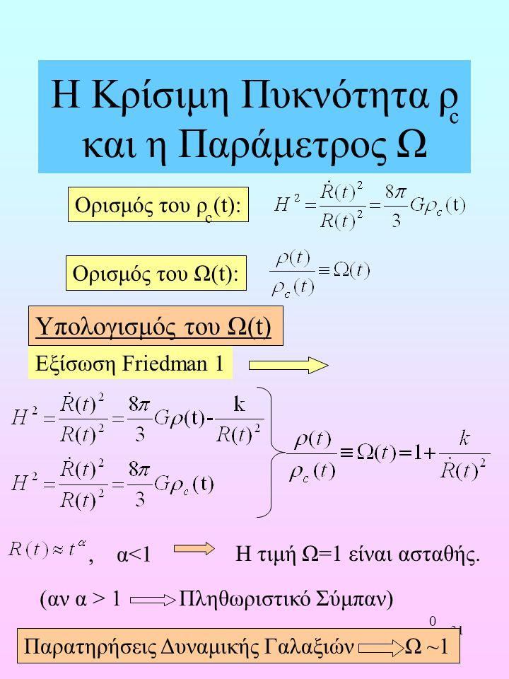 31 Η Κρίσιμη Πυκνότητα ρ και η Παράμετρος Ω Εξίσωση Friedman 1, α<1 Η τιμή Ω=1 είναι ασταθής. Υπολογισμός του Ω(t) c Ορισμός του Ω(t): Ορισμός του ρ (