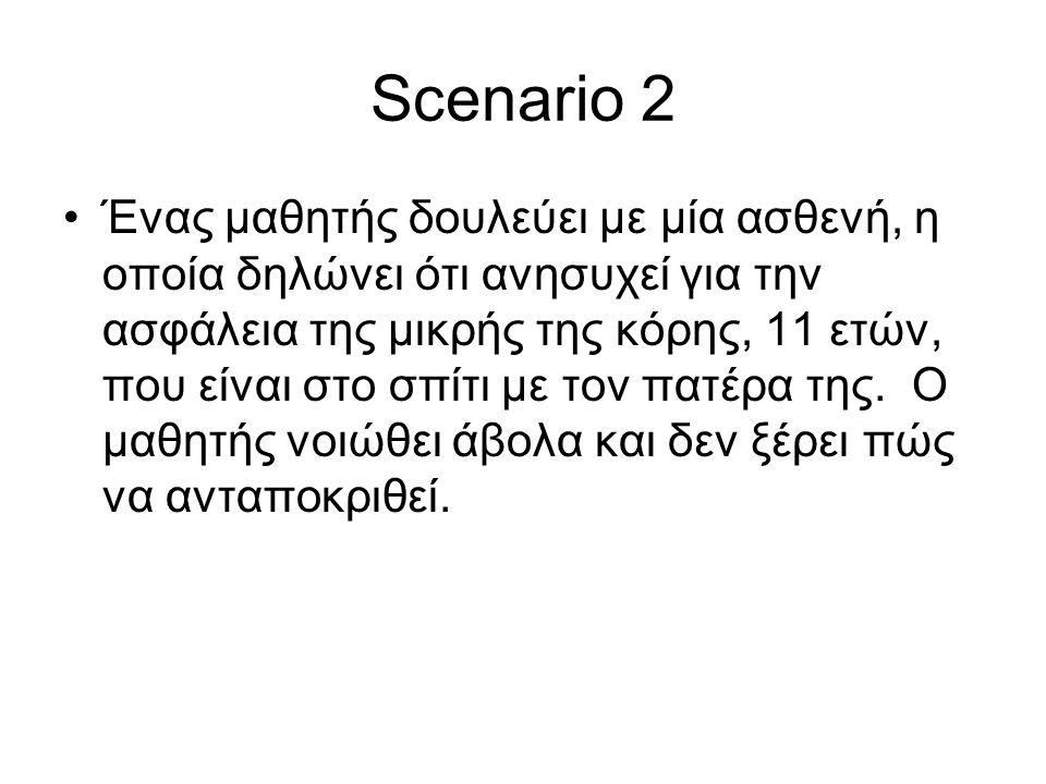 Scenario 2 •Ένας μαθητής δουλεύει με μία ασθενή, η οποία δηλώνει ότι ανησυχεί για την ασφάλεια της μικρής της κόρης, 11 ετών, που είναι στο σπίτι με τ