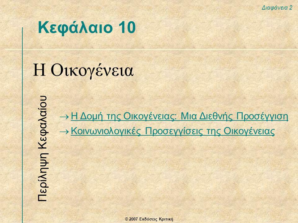 © 2007 Εκδόσεις Κριτική Διαφάνεια 2 Κεφάλαιο 10 Η Οικογένεια Περίληψη Κεφαλαίου  Η Δομή της Οικογένειας: Μια Διεθνής Προσέγγιση  Κοινωνιολογικές Προσεγγίσεις της Οικογένειας Κοινωνιολογικές Προσεγγίσεις της Οικογένειας