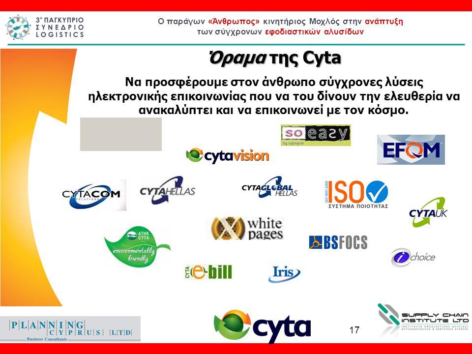 Ο παράγων «Άνθρωπος» κινητήριος Μοχλός στην ανάπτυξη των σύγχρονων εφοδιαστικών αλυσίδων Όραμα της Cyta Να προσφέρουμε στον άνθρωπο σύγχρονες λύσεις η