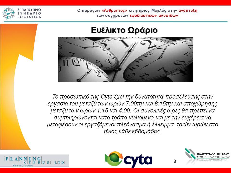 Ο παράγων «Άνθρωπος» κινητήριος Μοχλός στην ανάπτυξη των σύγχρονων εφοδιαστικών αλυσίδων Ευέλικτο Ωράριο Το προσωπικό της Cyta έχει την δυνατότητα προ