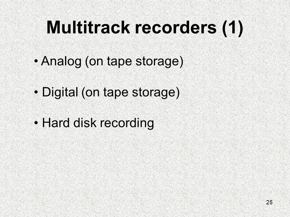 25 Multitrack recorders (1) • Analog (on tape storage) • Digital (on tape storage) • Hard disk recording