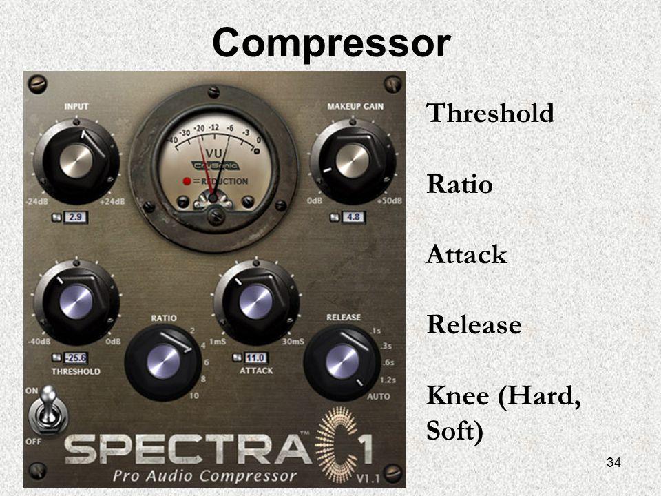 34 Compressor Threshold Ratio Attack Release Knee (Hard, Soft)