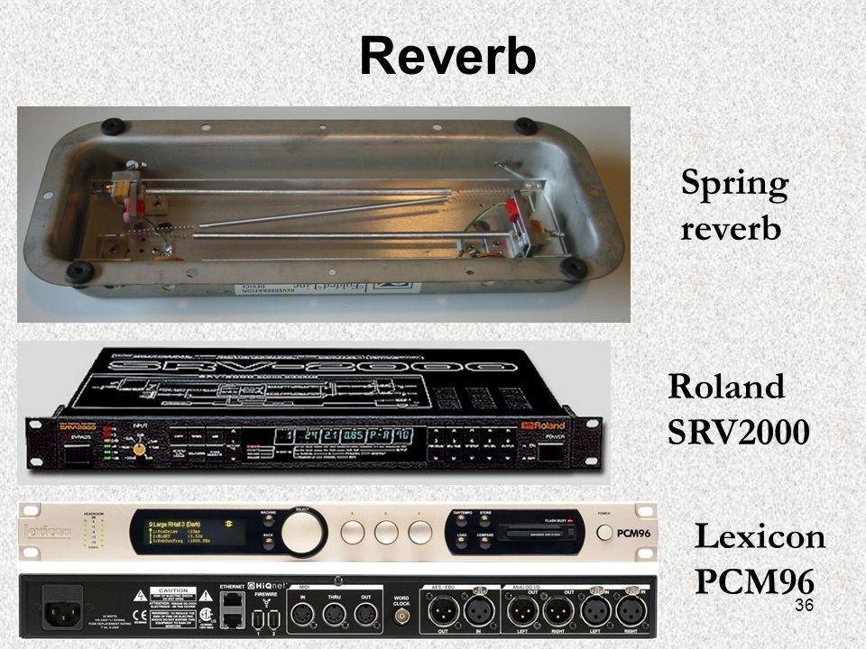 36 Reverb Roland SRV2000 Lexicon PCM96 Spring reverb