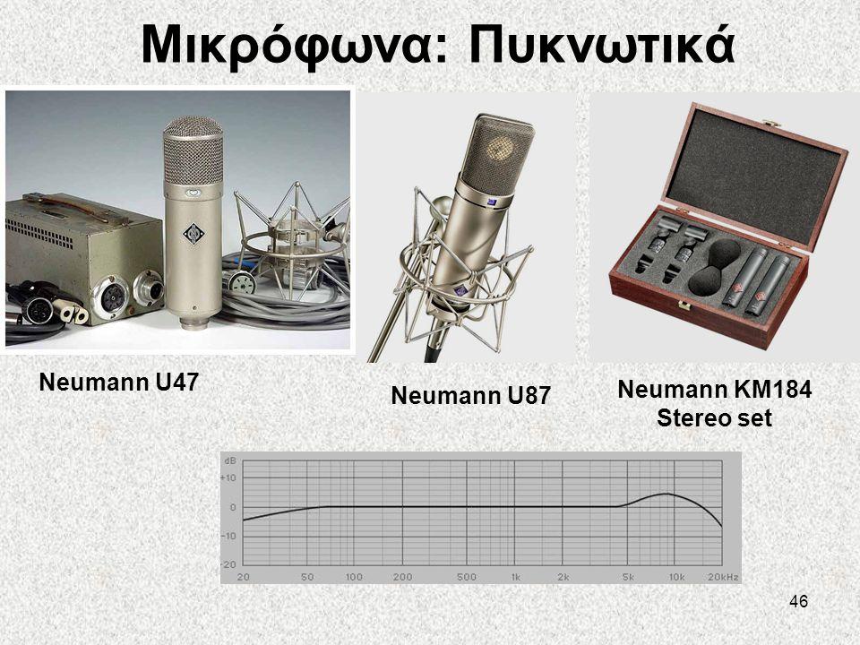 46 Μικρόφωνα: Πυκνωτικά Neumann U87 Neumann U47 Neumann KM184 Stereo set
