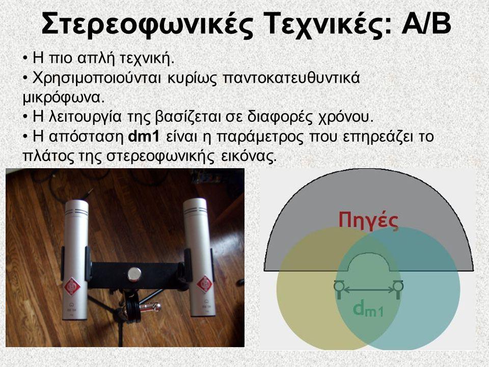 49 Στερεοφωνικές Τεχνικές: A/B • Η πιο απλή τεχνική. • Χρησιμοποιούνται κυρίως παντοκατευθυντικά μικρόφωνα. • Η λειτουργία της βασίζεται σε διαφορές χ