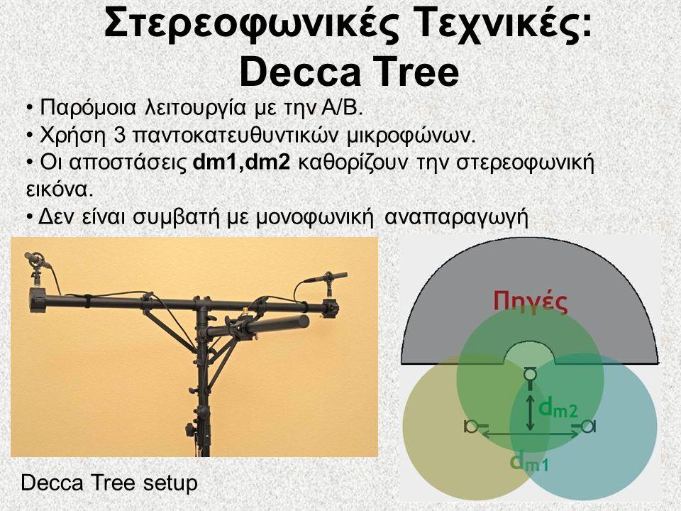 51 Στερεοφωνικές Τεχνικές: Decca Tree • Παρόμοια λειτουργία με την A/B. • Χρήση 3 παντοκατευθυντικών μικροφώνων. • Οι αποστάσεις dm1,dm2 καθορίζουν τη