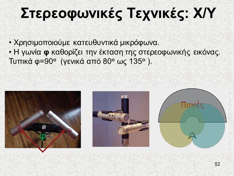 52 Στερεοφωνικές Τεχνικές: X/Y • Χρησιμοποιούμε κατευθυντικά μικρόφωνα. • Η γωνία φ καθορίζει την έκταση της στερεοφωνικής εικόνας. Τυπικά φ=90 ο (γεν
