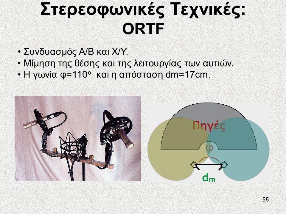 55 Στερεοφωνικές Τεχνικές: ORTF • Συνδυασμός A/B και X/Y. • Μίμηση της θέσης και της λειτουργίας των αυτιών. • Η γωνία φ=110 ο και η απόσταση dm=17cm.