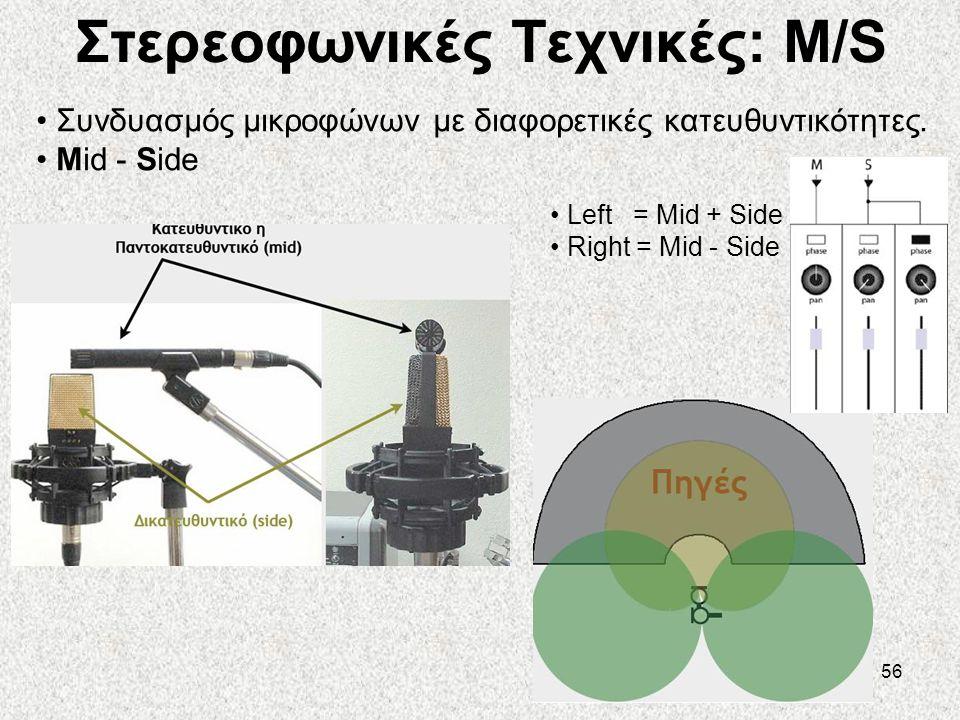 56 Στερεοφωνικές Τεχνικές: M/S • Συνδυασμός μικροφώνων με διαφορετικές κατευθυντικότητες. • Mid - Side • Left = Mid + Side • Right = Mid - Side