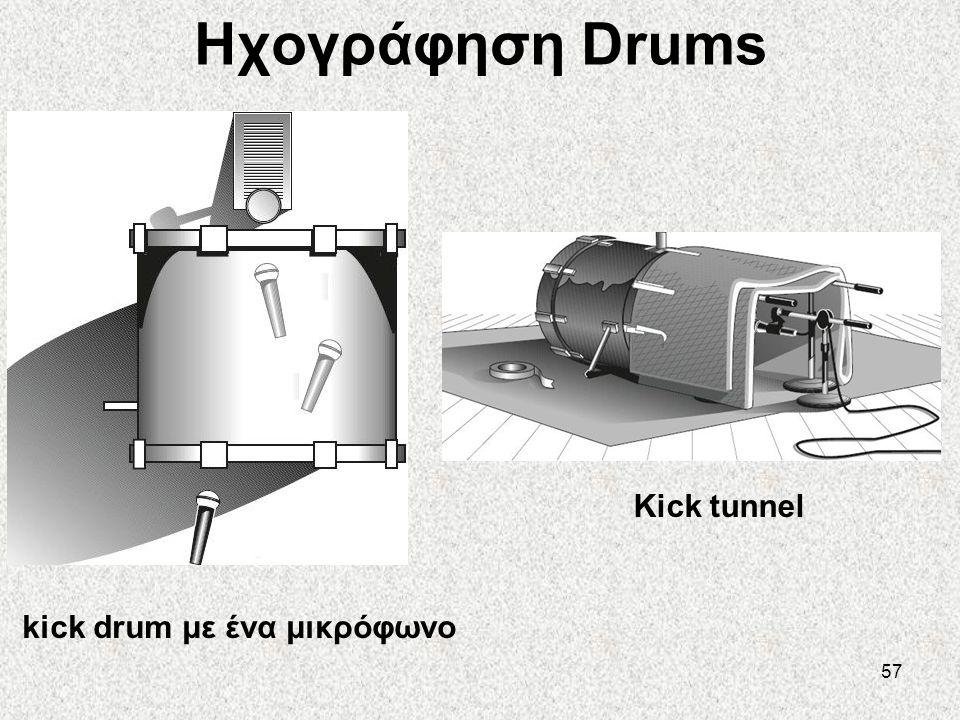 57 Ηχογράφηση Drums kick drum με ένα μικρόφωνο Kick tunnel