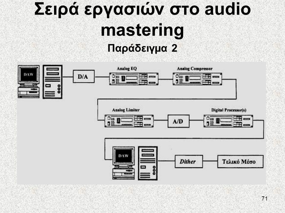 71 Σειρά εργασιών στο audio mastering Παράδειγμα 2