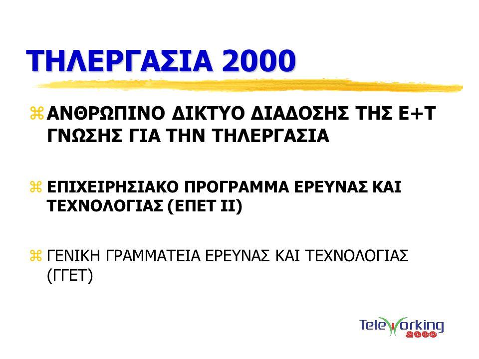 ΣΤΟΧΟΣ zΣτόχος του Ανθρώπινου Δικτύου Διάδοσης της Ε+Τ γνώσης με τίτλο ΤΗΛΕΡΓΑΣΙΑ 2000 , είναι η ανάπτυξη συνεργασίας και επικοινωνίας μεταξύ ακαδημαϊκών και ερευνητικών κέντρων καθώς και ιδιωτικών και δημόσιων φορέων που ενδιαφέρονται για την τηλεργασία.