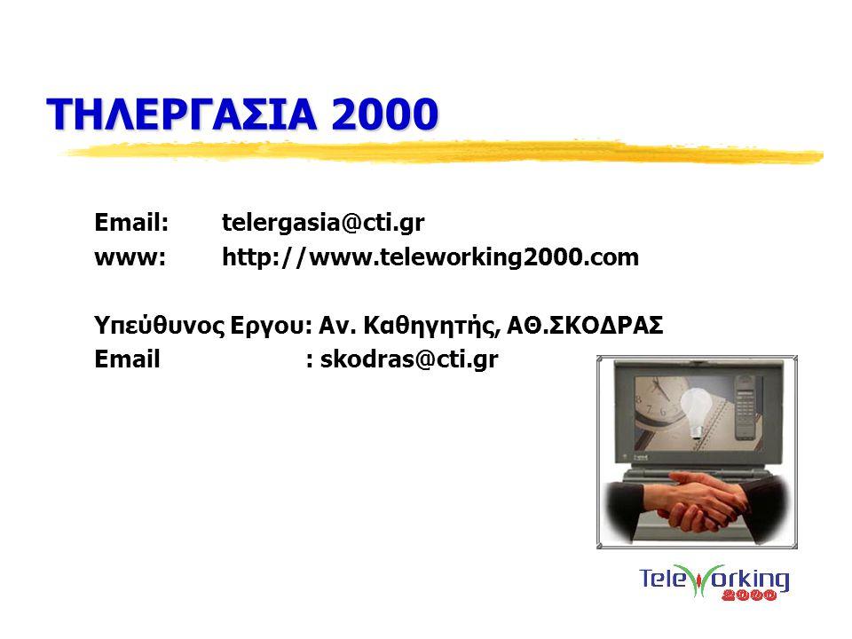 ΤΗΛΕΡΓΑΣΙΑ 2000 Email:telergasia@cti.gr www:http://www.teleworking2000.com Υπεύθυνος Eργου: Αν. Καθηγητής, ΑΘ.ΣΚΟΔΡΑΣ Email : skodras@cti.gr