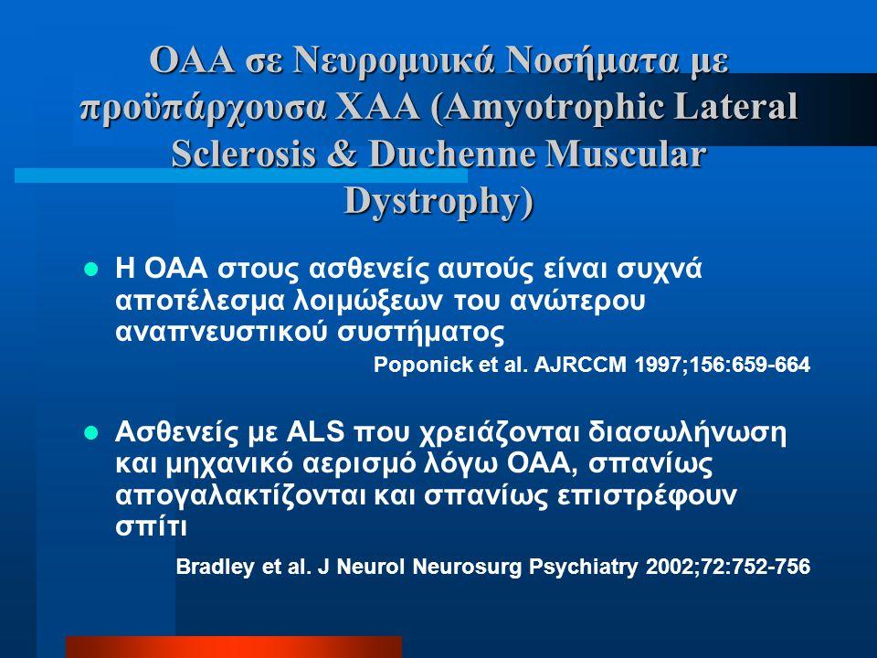 ΟΑΑ σε Νευρομυικά Νοσήματα με προϋπάρχουσα ΧΑΑ (Amyotrophic Lateral Sclerosis & Duchenne Muscular Dystrophy)  Η ΟΑΑ στους ασθενείς αυτούς είναι συχνά
