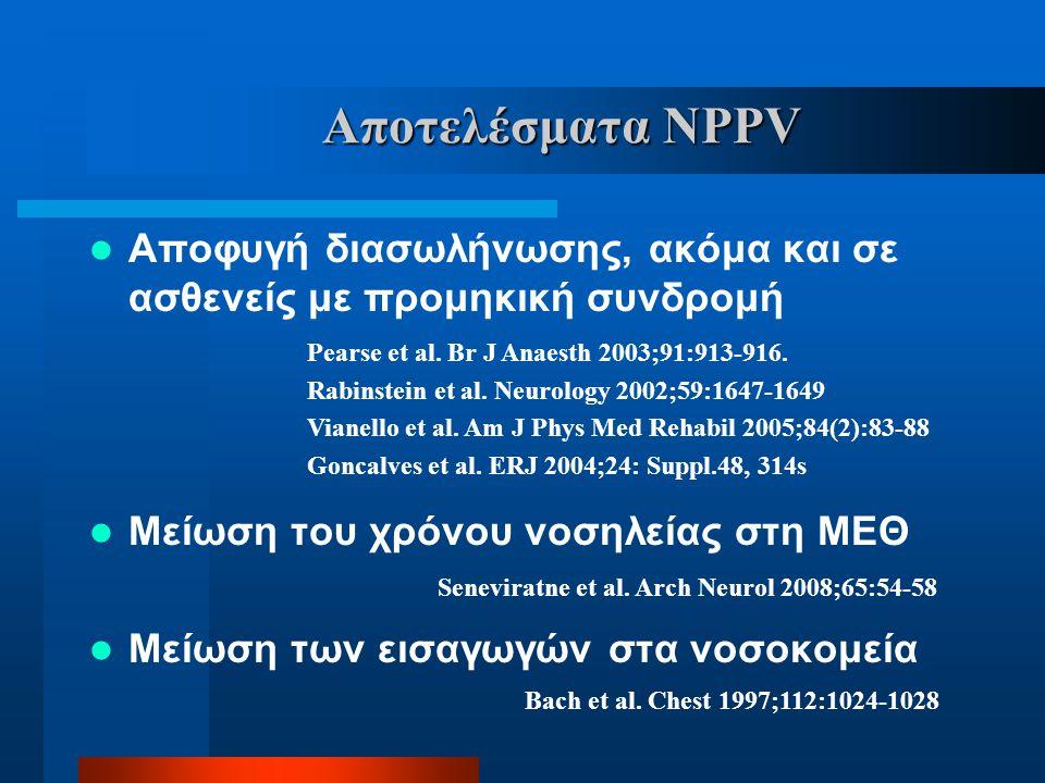 Αποτελέσματα NPPV  Αποφυγή διασωλήνωσης, ακόμα και σε ασθενείς με προμηκική συνδρομή  Μείωση του χρόνου νοσηλείας στη ΜΕΘ  Μείωση των εισαγωγών στα