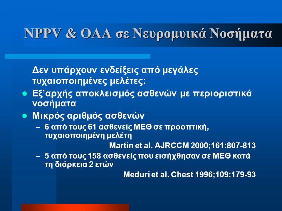 NPPV & ΟΑΑ σε Νευρομυικά Νοσήματα Δεν υπάρχουν ενδείξεις από μεγάλες τυχαιοποιημένες μελέτες:  Εξ'αρχής αποκλεισμός ασθενών με περιοριστικά νοσήματα