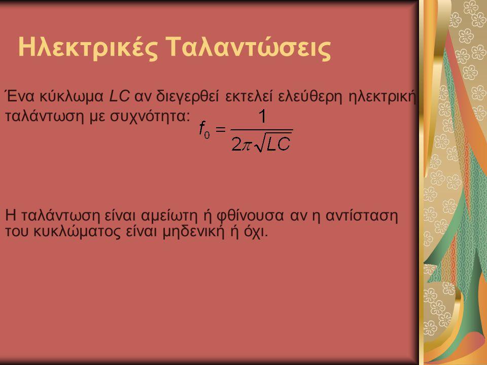 Ηλεκτρικές Ταλαντώσεις Ένα κύκλωμα LC αν διεγερθεί εκτελεί ελεύθερη ηλεκτρική ταλάντωση με συχνότητα: Η ταλάντωση είναι αμείωτη ή φθίνουσα αν η αντίσταση του κυκλώματος είναι μηδενική ή όχι.