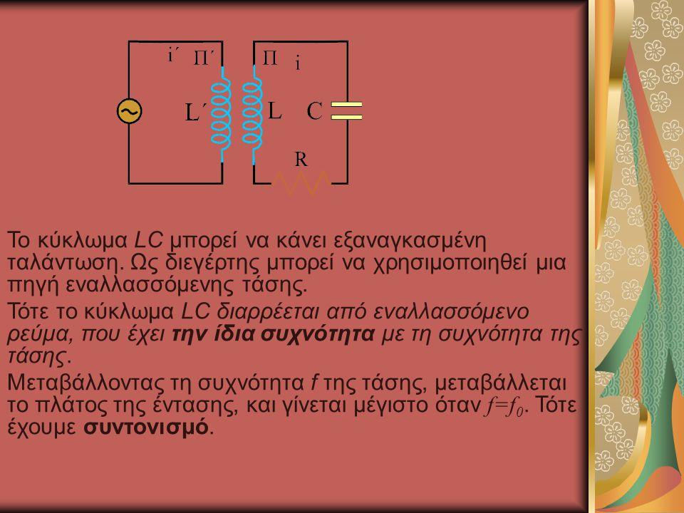 Το κύκλωμα LC μπορεί να κάνει εξαναγκασμένη ταλάντωση. Ως διεγέρτης μπορεί να χρησιμοποιηθεί μια πηγή εναλλασσόμενης τάσης. Τότε το κύκλωμα LC διαρρέε
