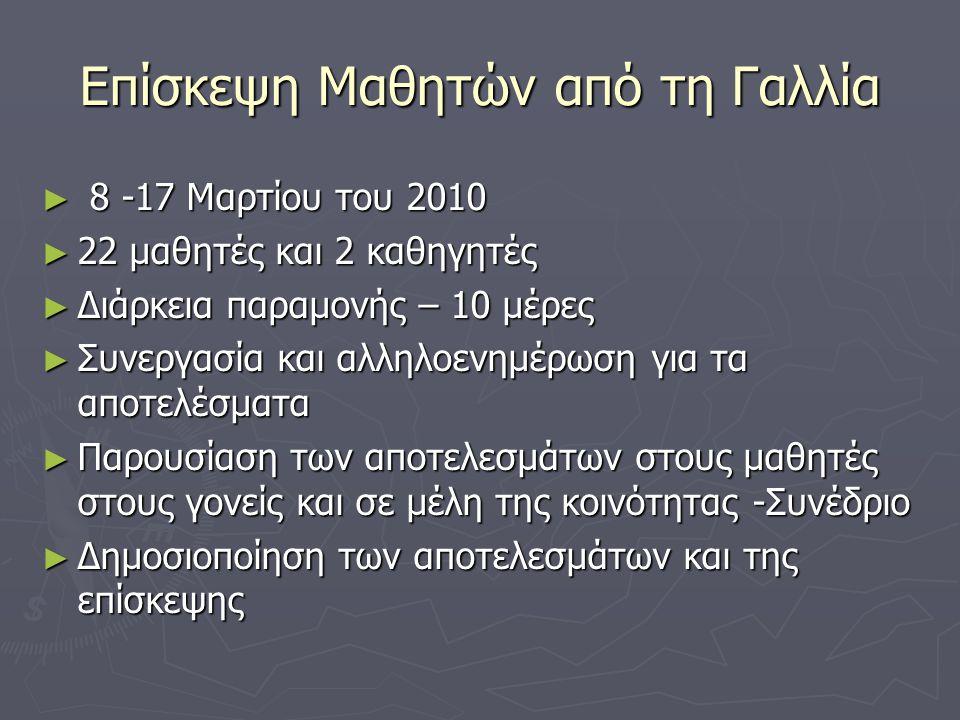 Επίσκεψη Μαθητών από τη Γαλλία ► 8 -17 Μαρτίου του 2010 ► 22 μαθητές και 2 καθηγητές ► Διάρκεια παραμονής – 10 μέρες ► Συνεργασία και αλληλοενημέρωση για τα αποτελέσματα ► Παρουσίαση των αποτελεσμάτων στους μαθητές στους γονείς και σε μέλη της κοινότητας -Συνέδριο ► Δημοσιοποίηση των αποτελεσμάτων και της επίσκεψης