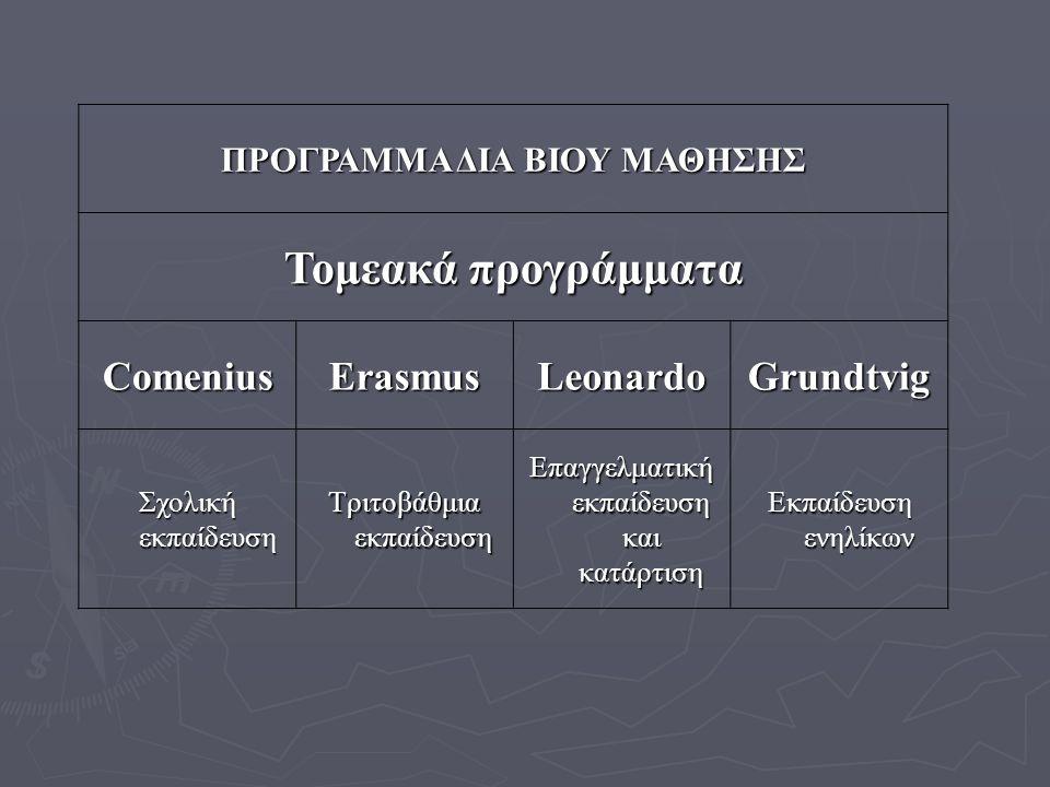 Στρατηγικός στόχος του προγράμματος: ► Να συμβάλει, με τη δια βίου μάθηση, στην ανάπτυξη της Κοινότητας ως προηγμένης κοινωνίας βασισμένης στη γνώση, με βιώσιμη οικονομική ανάπτυξη, ► να δημιουργήσει καλύτερες και περισσότερες θέσεις απασχόλησης και μεγαλύτερη κοινωνική συνοχή, παράλληλα, ► να διασφαλίσει, ικανοποιητική προστασία του περιβάλλοντος για τις μελλοντικές γενιές.