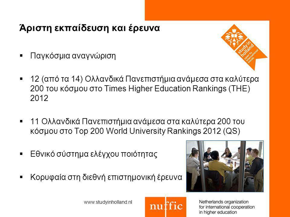 Άριστη εκπαίδευση και έρευνα www.studyinholland.nl  Παγκόσμια αναγνώριση  12 (από τα 14) Ολλανδικά Πανεπιστήμια ανάμεσα στα καλύτερα 200 του κόσμου στο Times Higher Education Rankings (THE) 2012  11 Ολλανδικά Πανεπιστήμια ανάμεσα στα καλύτερα 200 του κόσμου στο Top 200 World University Rankings 2012 (QS)  Εθνικό σύστημα ελέγχου ποιότητας  Κορυφαία στη διεθνή επιστημονική έρευνα