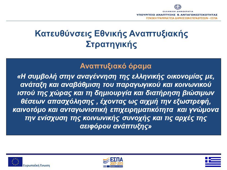 Κατευθύνσεις Εθνικής Αναπτυξιακής Στρατηγικής Αναπτυξιακό όραμα «Η συμβολή στην αναγέννηση της ελληνικής οικονομίας με, ανάταξη και αναβάθμιση του παρ