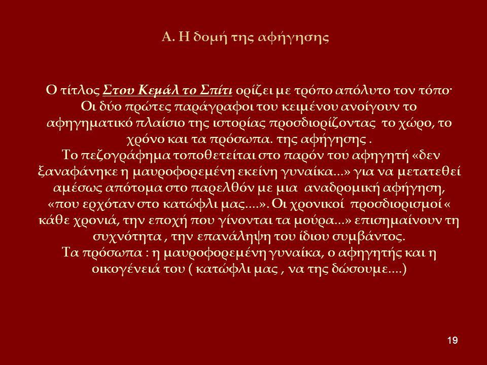 19 Α. Η δομή της αφήγησης Ο τίτλος Στου Κεμάλ το Σπίτι ορίζει με τρόπο απόλυτο τον τόπο· Οι δύο πρώτες παράγραφοι του κειμένου ανοίγουν το αφηγηματικό