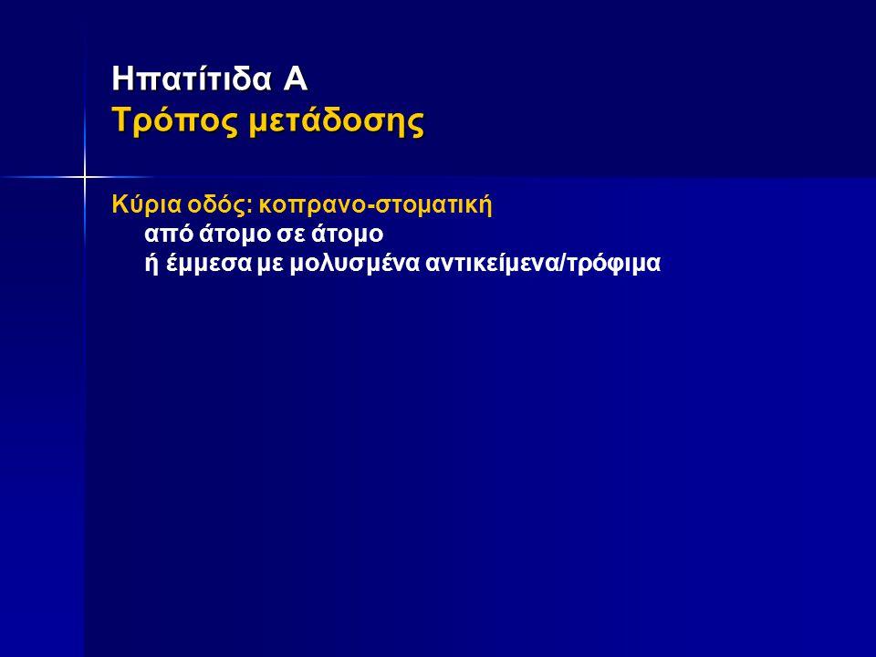 Ηπατίτιδα Α Τρόπος μετάδοσης Κύρια οδός: κοπρανο-στοματική από άτομο σε άτομο ή έμμεσα με μολυσμένα αντικείμενα/τρόφιμα