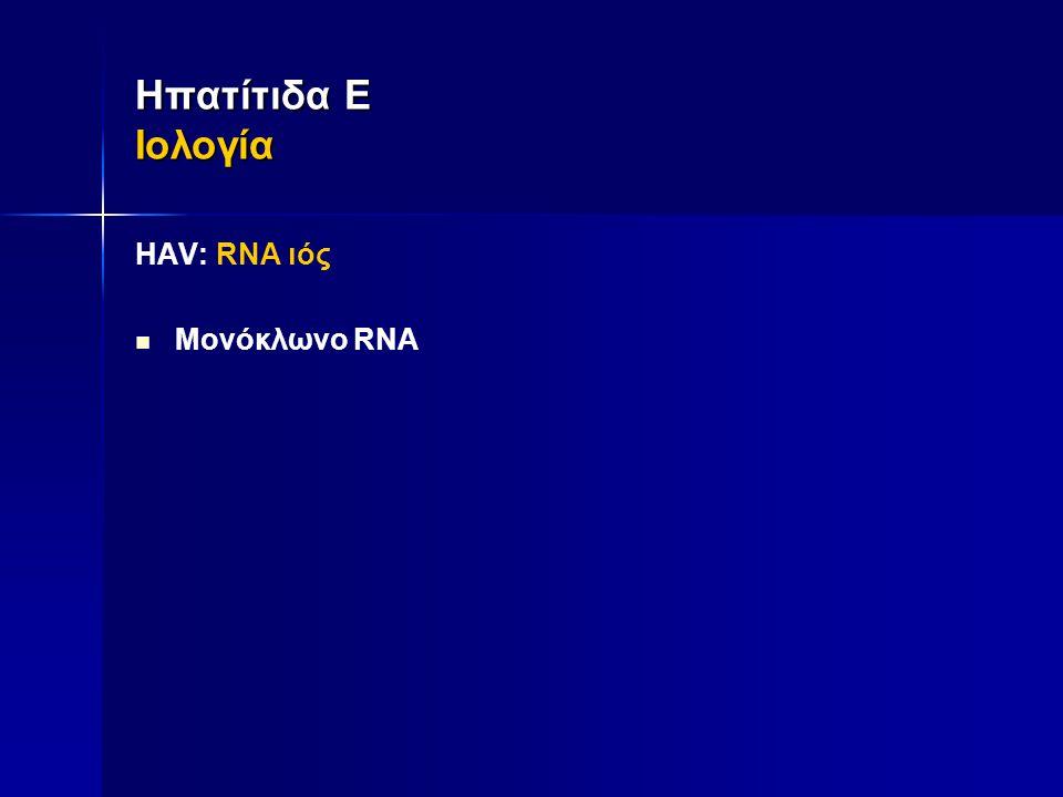 ΗAV: RNA ιός  Μονόκλωνο RNA Ηπατίτιδα Ε Ιολογία