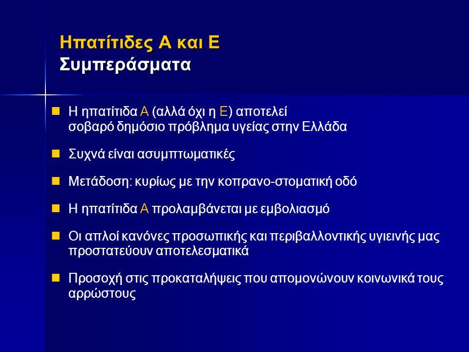 Ηπατίτιδες Α και E Συμπεράσματα Ηπατίτιδες Α και E Συμπεράσματα  Η ηπατίτιδα Α (αλλά όχι η Ε) αποτελεί σοβαρό δημόσιο πρόβλημα υγείας στην Ελλάδα  Σ