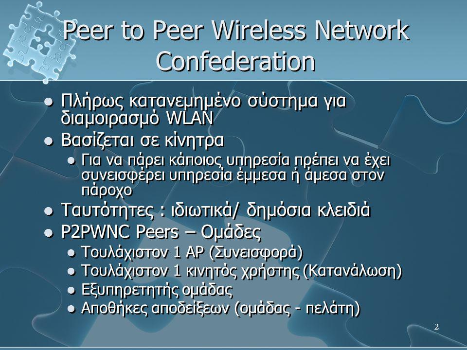 2 Peer to Peer Wireless Network Confederation  Πλήρως κατανεμημένο σύστημα για διαμοιρασμό WLAN  Βασίζεται σε κίνητρα  Για να πάρει κάποιος υπηρεσία πρέπει να έχει συνεισφέρει υπηρεσία έμμεσα ή άμεσα στον πάροχο  Ταυτότητες : ιδιωτικά/ δημόσια κλειδιά  P2PWNC Peers – Ομάδες  Τουλάχιστον 1 AP (Συνεισφορά)  Τουλάχιστον 1 κινητός χρήστης (Κατανάλωση)  Εξυπηρετητής ομάδας  Αποθήκες αποδείξεων (ομάδας - πελάτη)  Πλήρως κατανεμημένο σύστημα για διαμοιρασμό WLAN  Βασίζεται σε κίνητρα  Για να πάρει κάποιος υπηρεσία πρέπει να έχει συνεισφέρει υπηρεσία έμμεσα ή άμεσα στον πάροχο  Ταυτότητες : ιδιωτικά/ δημόσια κλειδιά  P2PWNC Peers – Ομάδες  Τουλάχιστον 1 AP (Συνεισφορά)  Τουλάχιστον 1 κινητός χρήστης (Κατανάλωση)  Εξυπηρετητής ομάδας  Αποθήκες αποδείξεων (ομάδας - πελάτη)