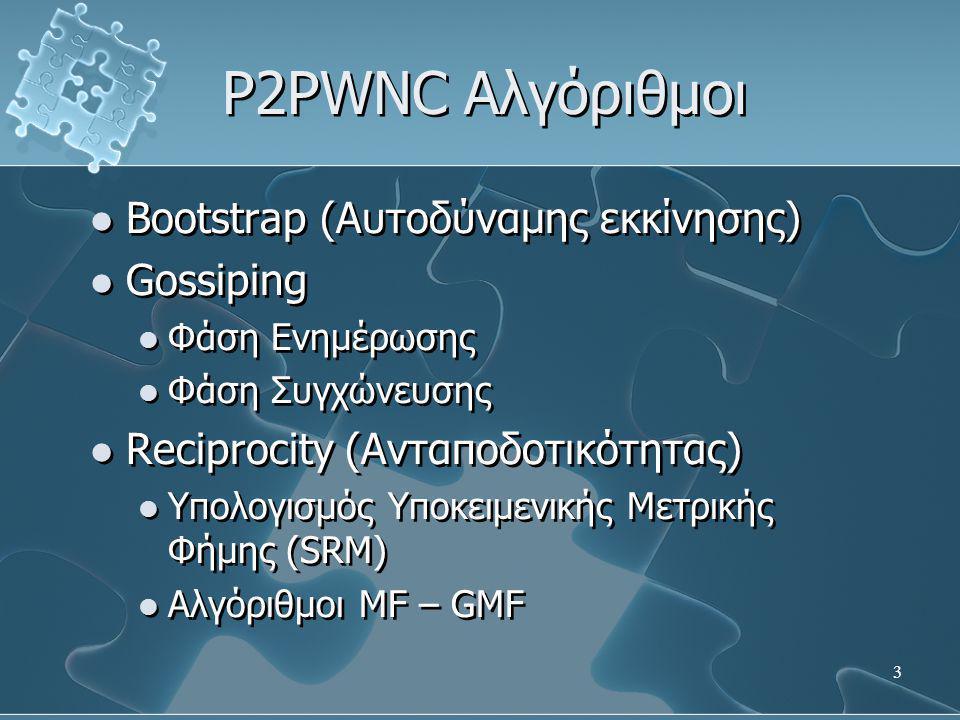 3 P2PWNC Αλγόριθμοι  Bootstrap (Αυτοδύναμης εκκίνησης)  Gossiping  Φάση Ενημέρωσης  Φάση Συγχώνευσης  Reciprocity (Ανταποδοτικότητας)  Υπολογισμός Υποκειμενικής Μετρικής Φήμης (SRM)  Αλγόριθμοι MF – GMF  Bootstrap (Αυτοδύναμης εκκίνησης)  Gossiping  Φάση Ενημέρωσης  Φάση Συγχώνευσης  Reciprocity (Ανταποδοτικότητας)  Υπολογισμός Υποκειμενικής Μετρικής Φήμης (SRM)  Αλγόριθμοι MF – GMF