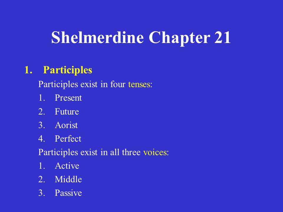 Shelmerdine Chapter 21 1.Participles 2.The present active participle in – ων (1 st principal part) 3.The attributive participle 4.The circumstantial participle 5.Further notes on participles 6.The future active participle (2 nd principal part) 7.The aorist active participle (3 rd principal part)