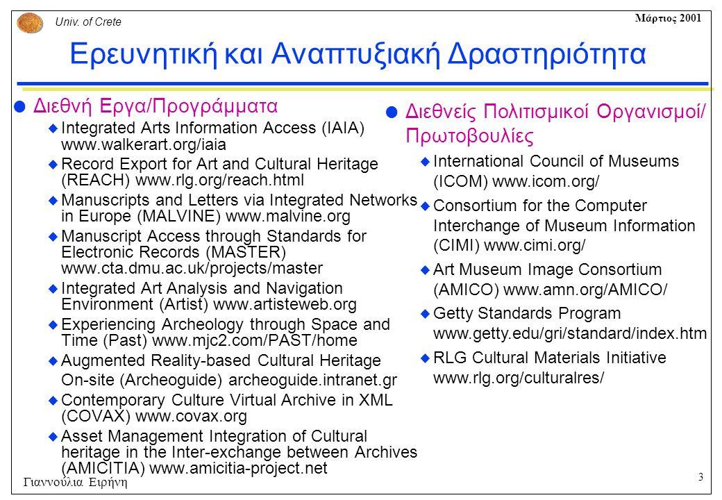 3 Univ. of Crete Μάρτιος 2001 Γιαννούλια Ειρήνη Ερευνητική και Αναπτυξιακή Δραστηριότητα  Διεθνή Εργα/Προγράμματα  Integrated Arts Information Acces