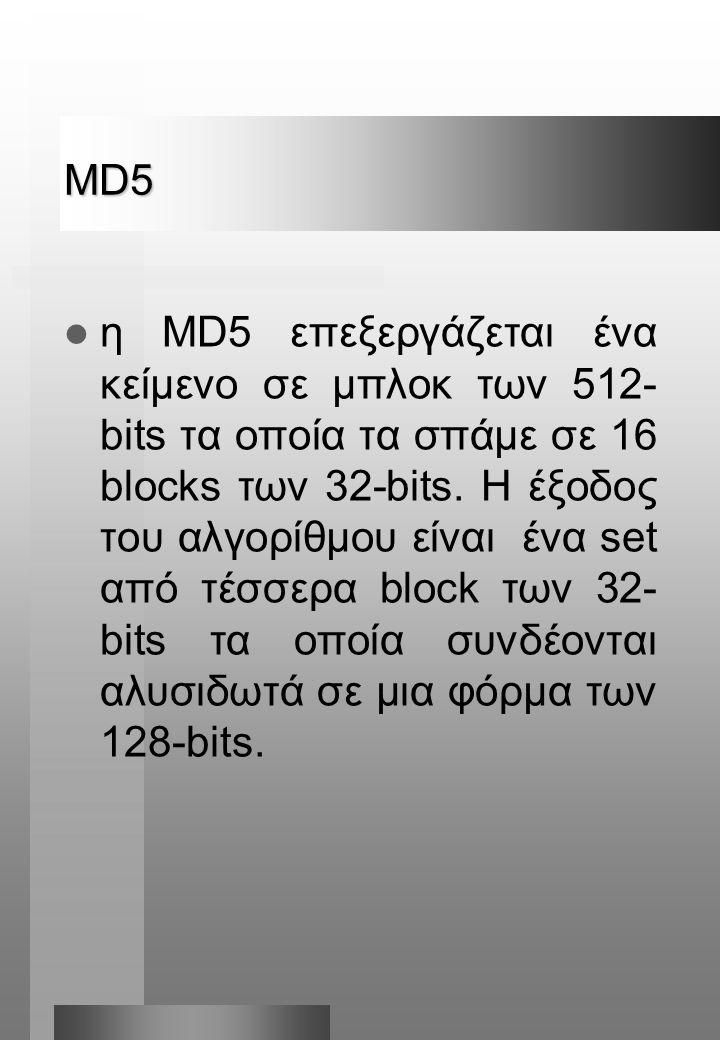 MD5  η MD5 επεξεργάζεται ένα κείμενο σε μπλοκ των 512- bits τα οποία τα σπάμε σε 16 blocks των 32-bits.