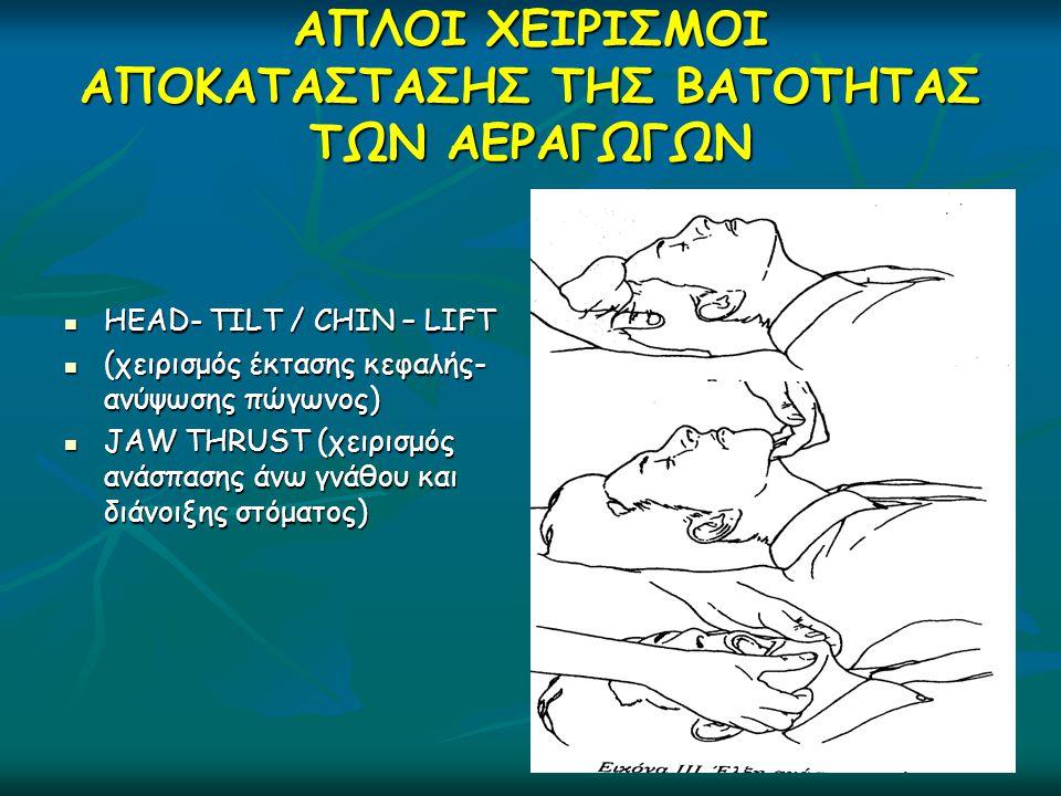 ΑΠΛΟΙ ΧΕΙΡΙΣΜΟΙ ΑΠΟΚΑΤΑΣΤΑΣΗΣ ΤΗΣ ΒΑΤΟΤΗΤΑΣ ΤΩΝ ΑΕΡΑΓΩΓΩΝ  HEAD- TILT / CHIN – LIFT  (χειρισμός έκτασης κεφαλής- ανύψωσης πώγωνος)  JAW THRUST (χει