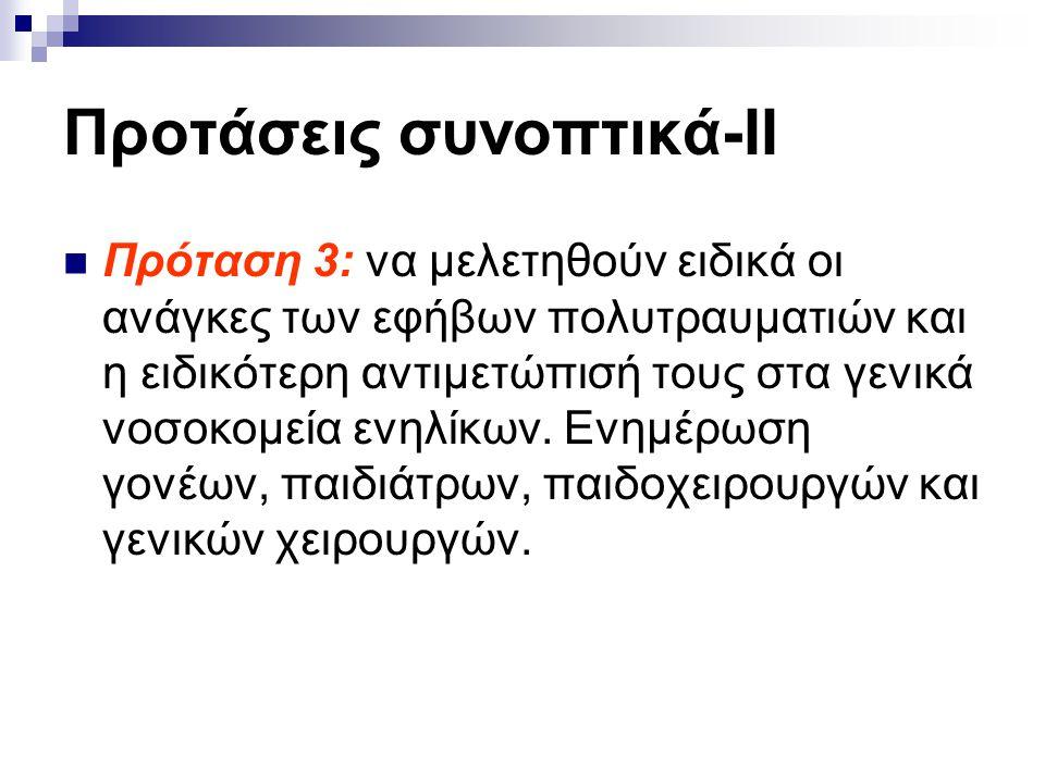 Προτάσεις συνοπτικά-ΙΙ  Πρόταση 3: να μελετηθούν ειδικά οι ανάγκες των εφήβων πολυτραυματιών και η ειδικότερη αντιμετώπισή τους στα γενικά νοσοκομεία