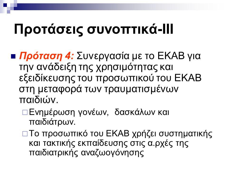 Προτάσεις συνοπτικά-ΙΙΙ  Πρόταση 4: Συνεργασία με το ΕΚΑΒ για την ανάδειξη της χρησιμότητας και εξειδίκευσης του προσωπικού του ΕΚΑΒ στη μεταφορά των τραυματισμένων παιδιών.