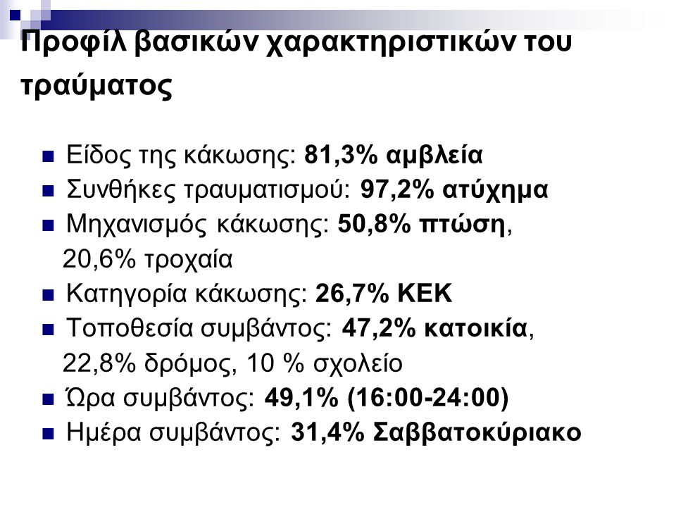 Προφίλ βασικών χαρακτηριστικών του τραύματος  Είδος της κάκωσης: 81,3% αμβλεία  Συνθήκες τραυματισμού: 97,2% ατύχημα  Μηχανισμός κάκωσης: 50,8% πτώ